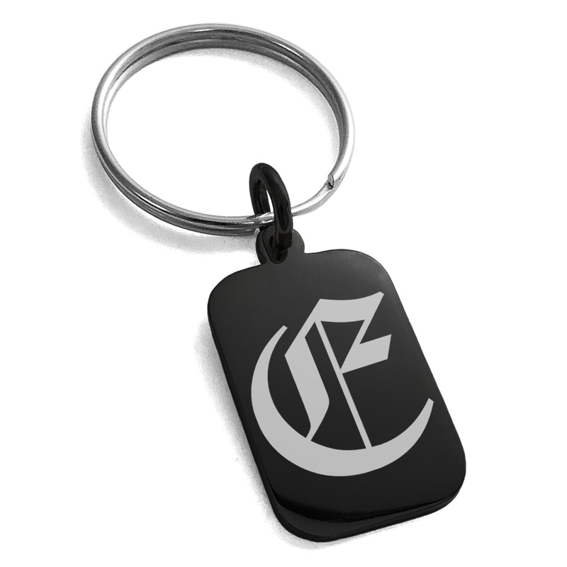 Stainless Steel Letter E Initial Old English Monogram Engraved Small Rectangle Dog Tag Charm Keychain Keyring - Tioneer