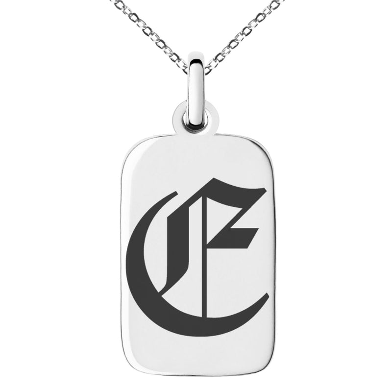 Stainless Steel Letter E Initial Old English Monogram Engraved Small Rectangle Dog Tag Charm Pendant Necklace