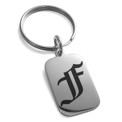 Stainless Steel Letter F Initial Old English Monogram Engraved Small Rectangle Dog Tag Charm Keychain Keyring - Tioneer