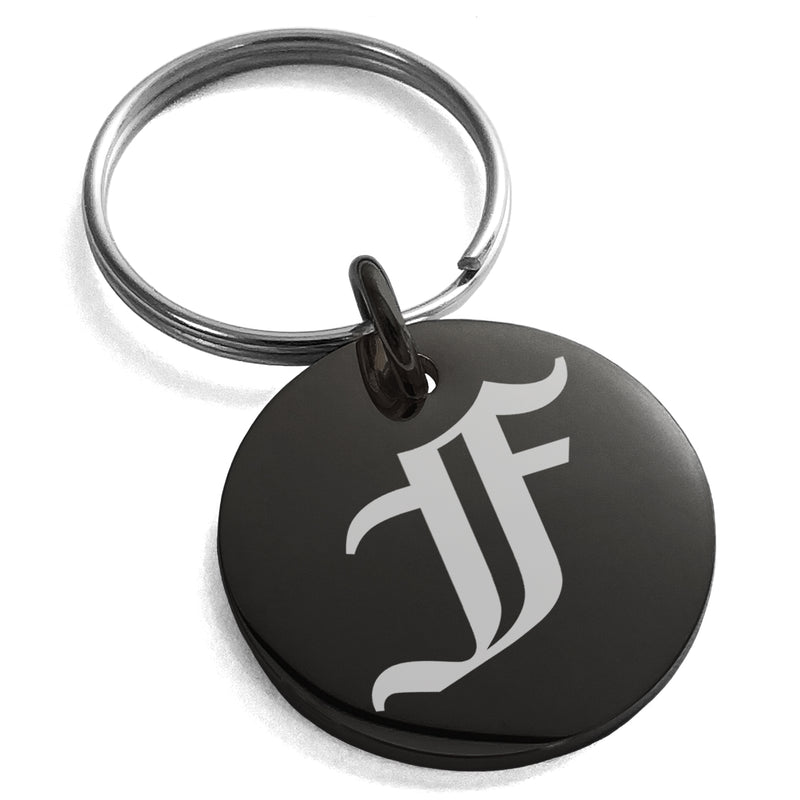 Stainless Steel Letter F Initial Old English Monogram Engraved Small Medallion Circle Charm Keychain Keyring - Tioneer
