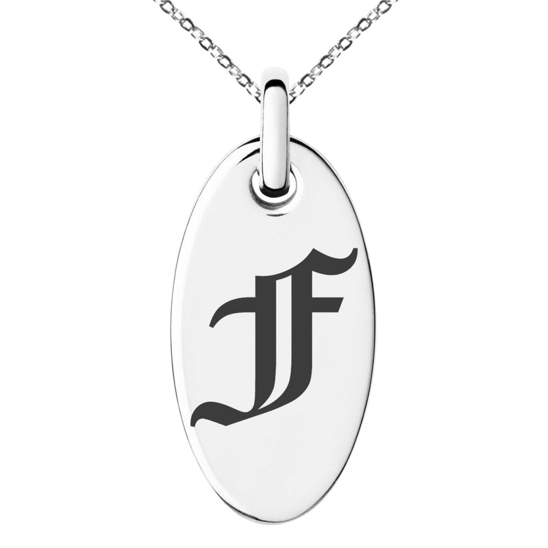 Stainless Steel Letter F Initial Old English Monogram Engraved Small Oval Charm Pendant Necklace