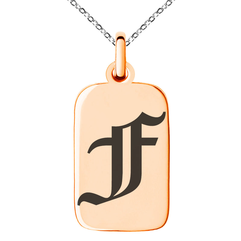 Stainless Steel Letter F Initial Old English Monogram Engraved Small Rectangle Dog Tag Charm Pendant Necklace