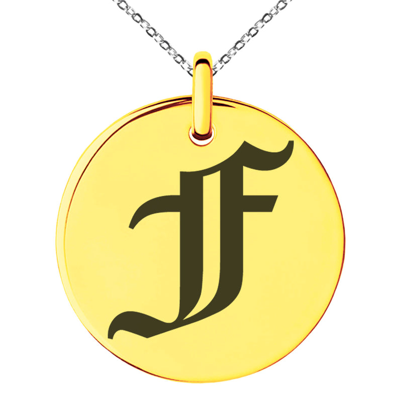Stainless Steel Letter F Initial Old English Monogram Engraved Small Medallion Circle Charm Pendant Necklace