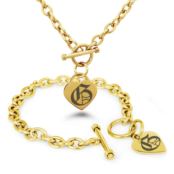 Stainless Steel Letter G Alphabet Initial Old English Monogram Engraved Heart Charm Toggle Link Bracelet Necklace Set - Tioneer