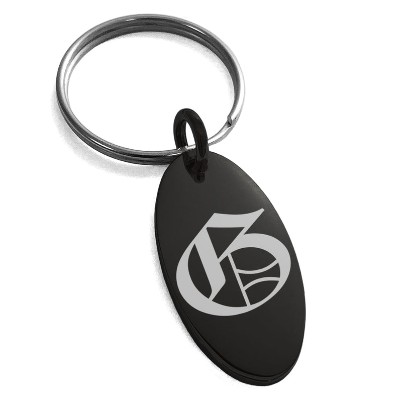Stainless Steel Letter G Initial Old English Monogram Engraved Small Oval Charm Keychain Keyring - Tioneer