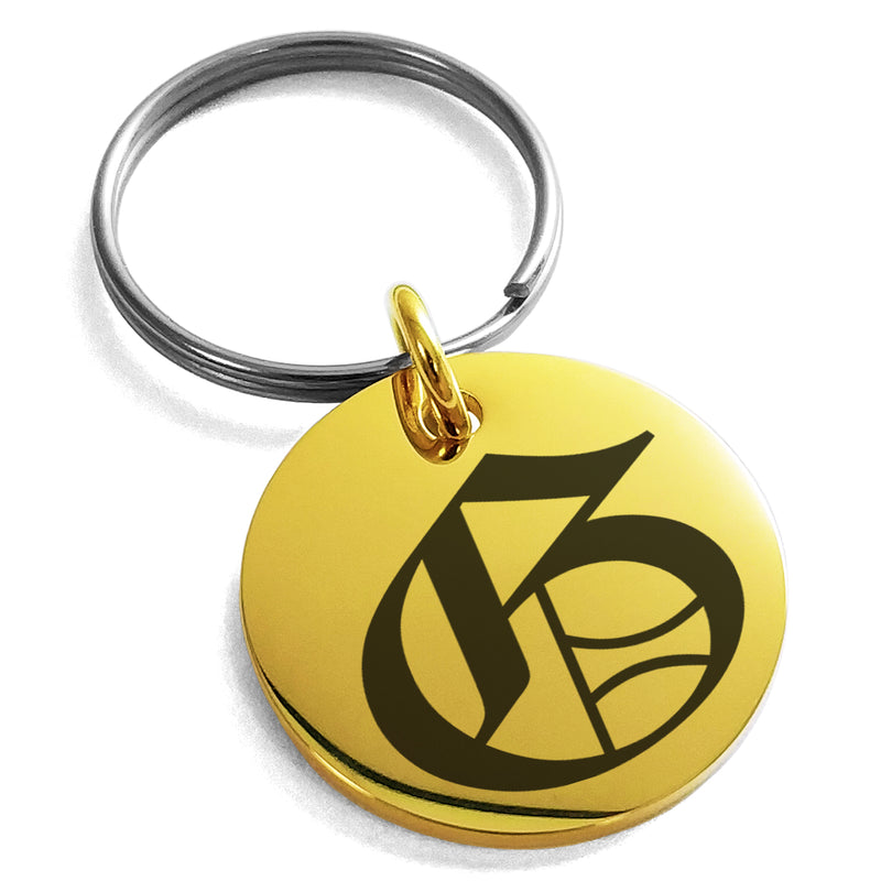 Stainless Steel Letter G Initial Old English Monogram Engraved Small Medallion Circle Charm Keychain Keyring - Tioneer