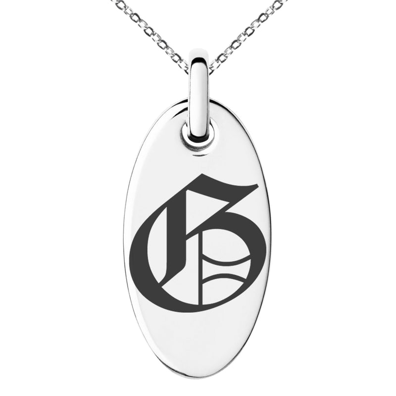 Stainless Steel Letter G Initial Old English Monogram Engraved Small Oval Charm Pendant Necklace