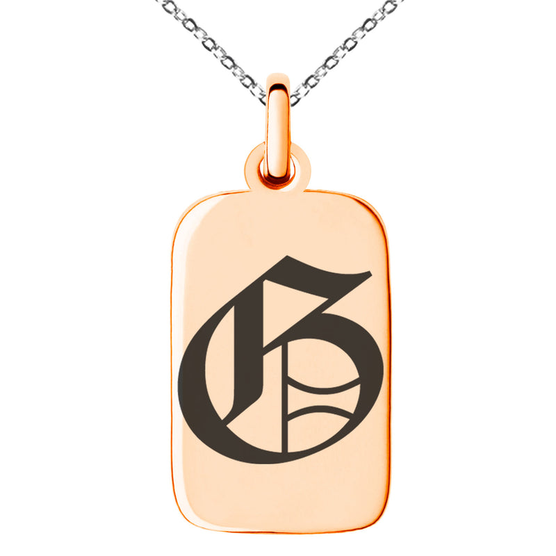 Stainless Steel Letter G Initial Old English Monogram Engraved Small Rectangle Dog Tag Charm Pendant Necklace