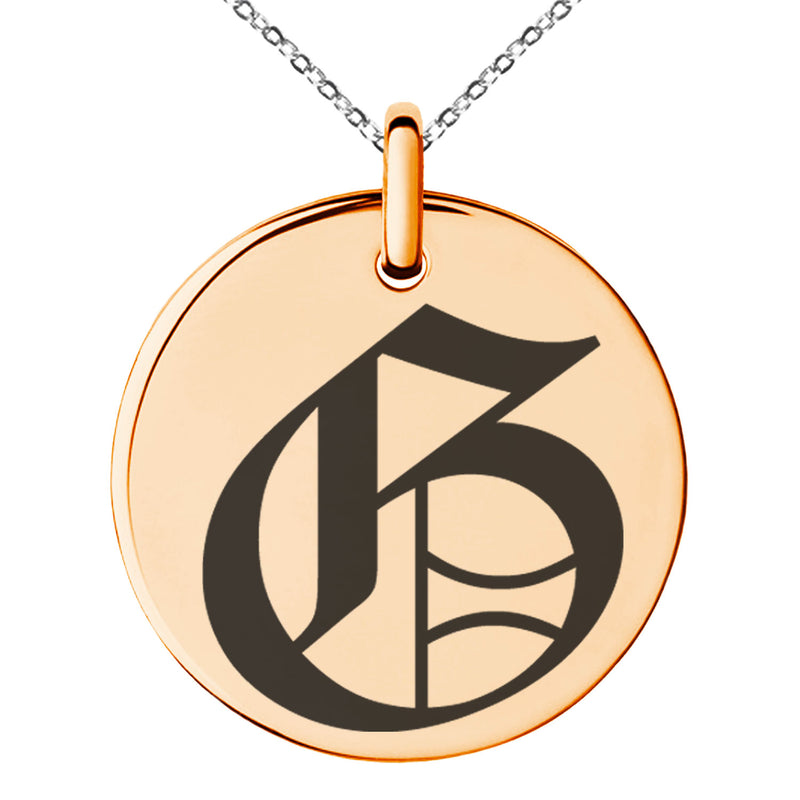 Stainless Steel Letter G Initial Old English Monogram Engraved Small Medallion Circle Charm Pendant Necklace