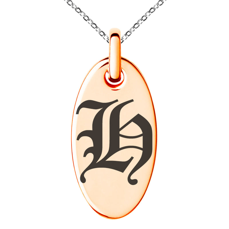 Stainless Steel Letter H Initial Old English Monogram Engraved Small Oval Charm Pendant Necklace
