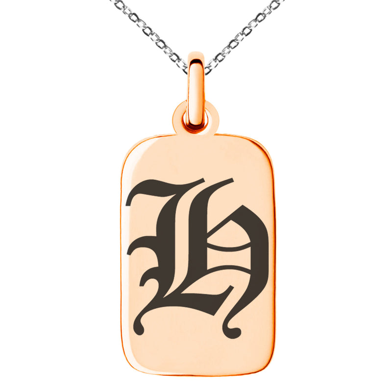 Stainless Steel Letter H Initial Old English Monogram Engraved Small Rectangle Dog Tag Charm Pendant Necklace