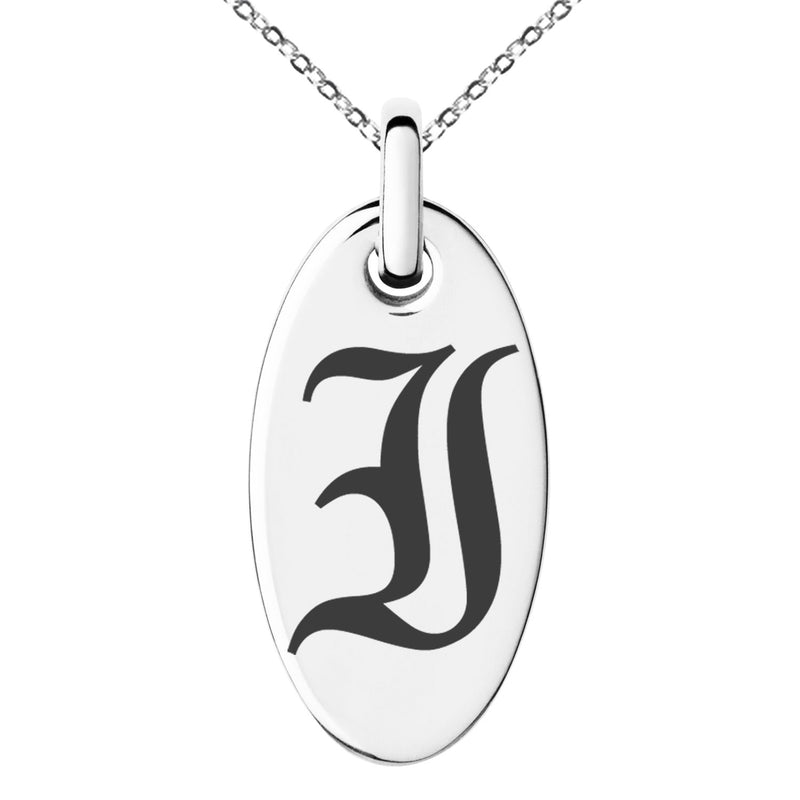 Stainless Steel Letter I Initial Old English Monogram Engraved Small Oval Charm Pendant Necklace