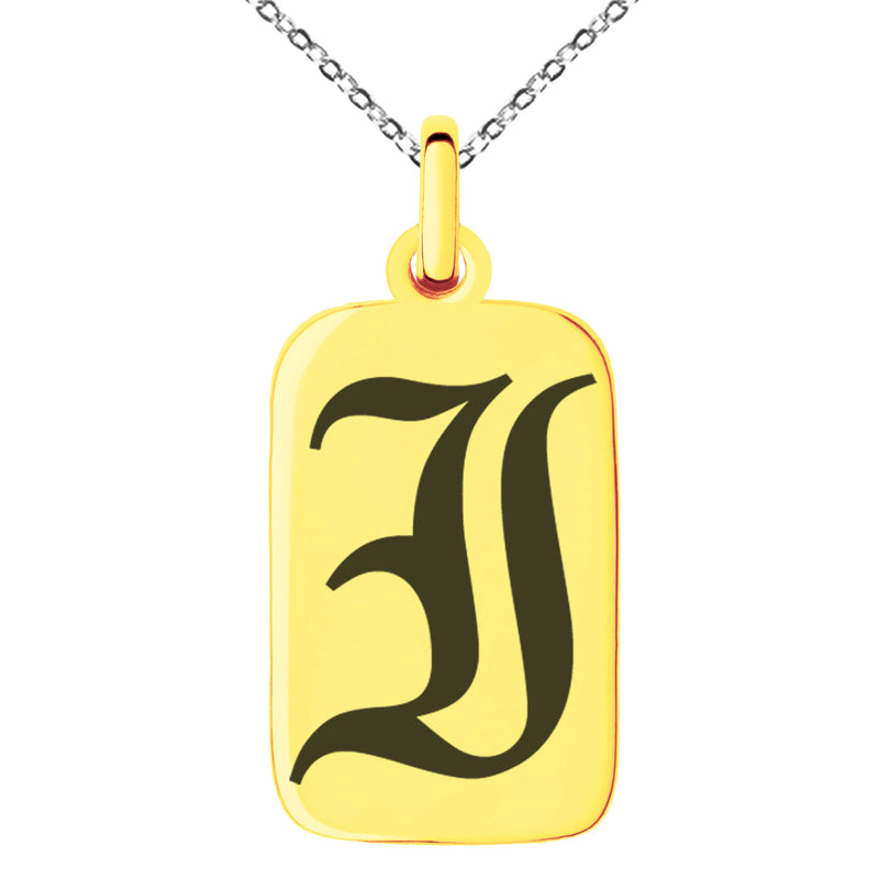 Stainless Steel Letter I Initial Old English Monogram Engraved Small Rectangle Dog Tag Charm Pendant Necklace