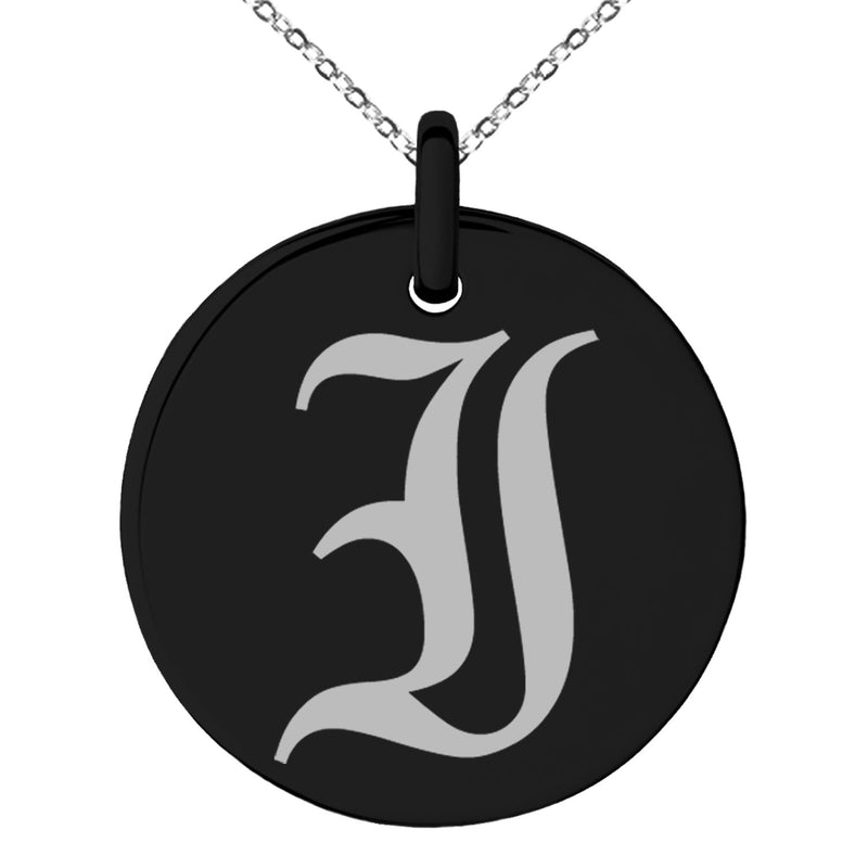 Stainless Steel Letter I Initial Old English Monogram Engraved Small Medallion Circle Charm Pendant Necklace