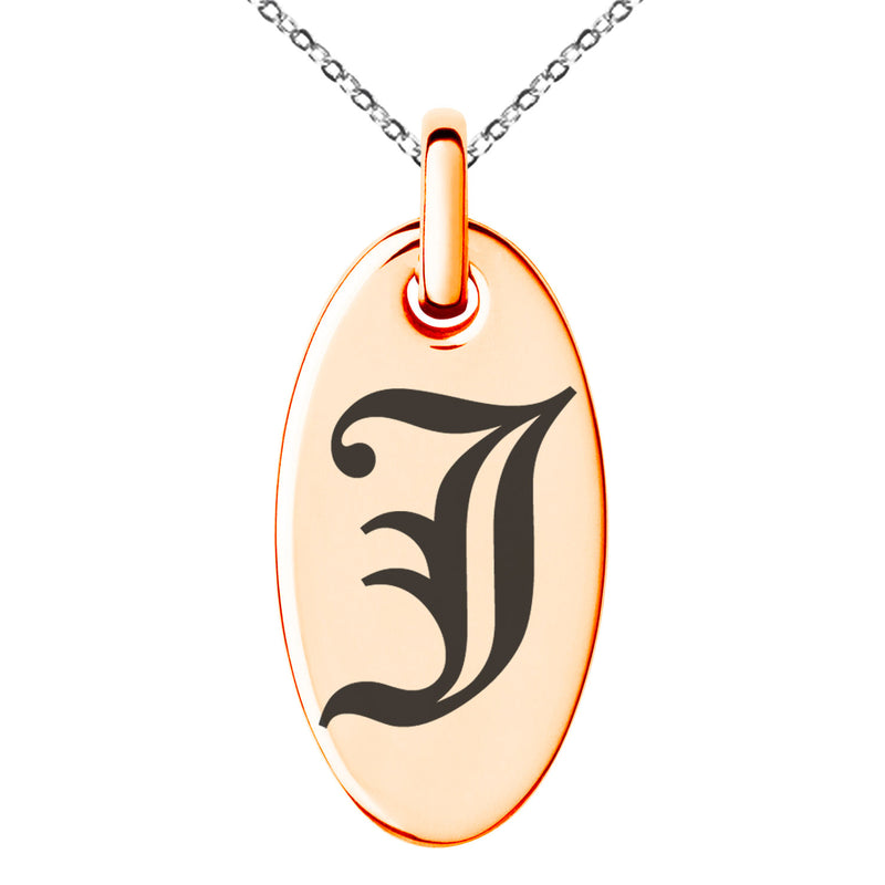 Stainless Steel Letter J Initial Old English Monogram Engraved Small Oval Charm Pendant Necklace