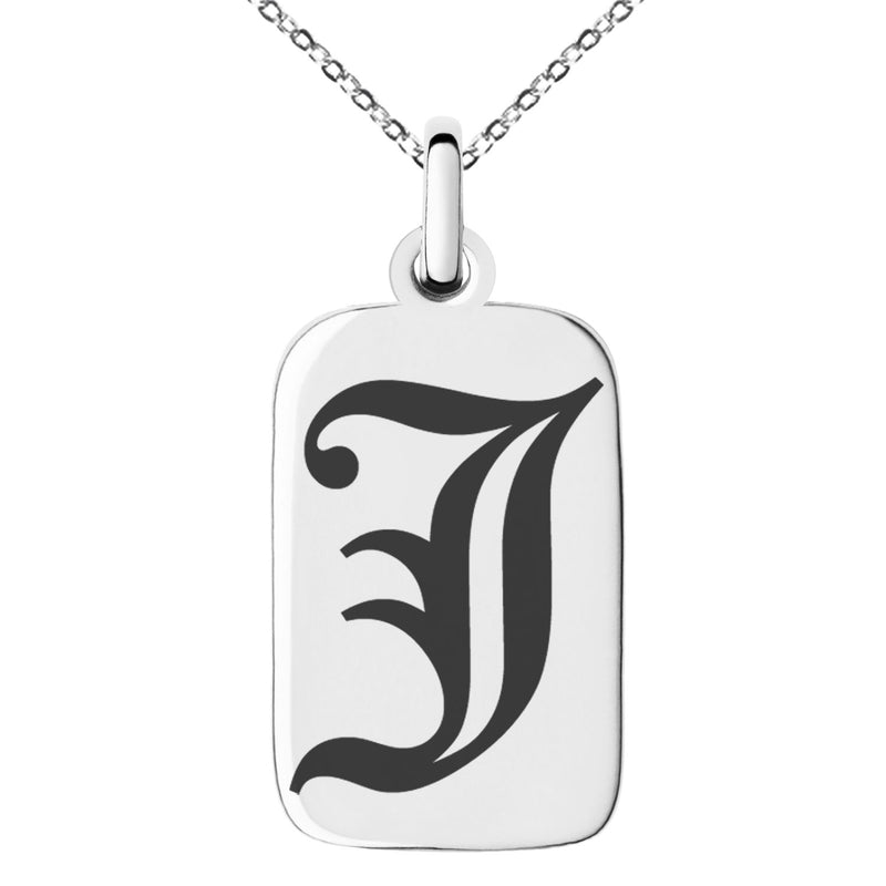 Stainless Steel Letter J Initial Old English Monogram Engraved Small Rectangle Dog Tag Charm Pendant Necklace
