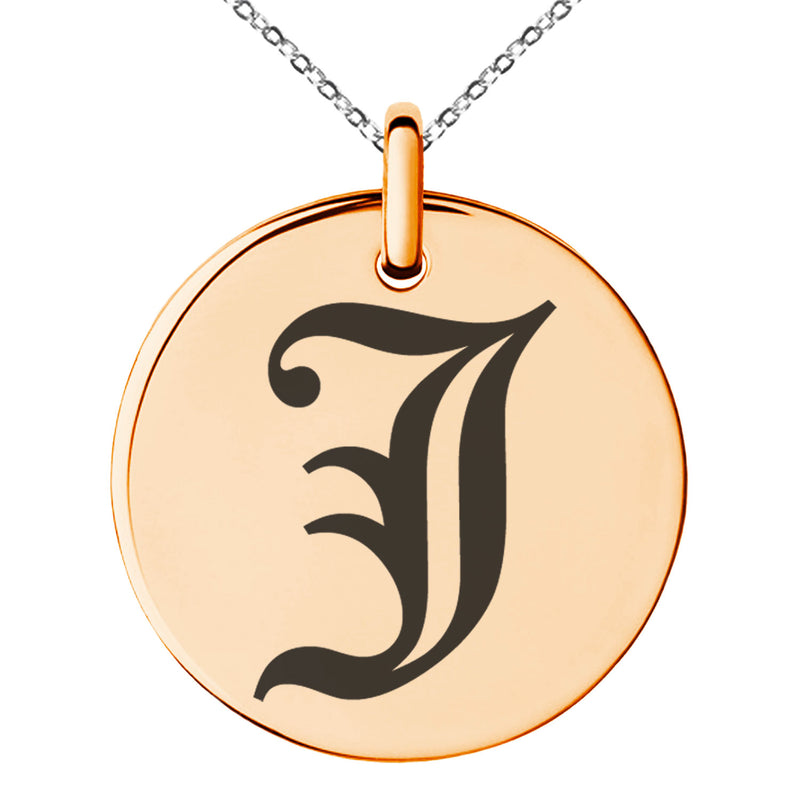 Stainless Steel Letter J Initial Old English Monogram Engraved Small Medallion Circle Charm Pendant Necklace