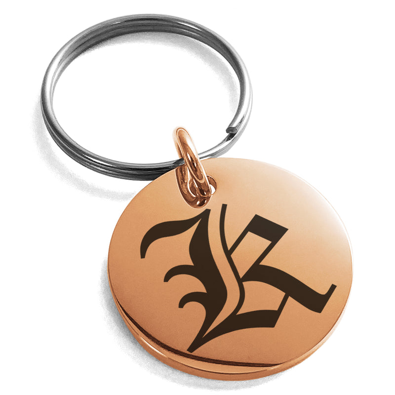 Stainless Steel Letter K Initial Old English Monogram Engraved Small Medallion Circle Charm Keychain Keyring - Tioneer