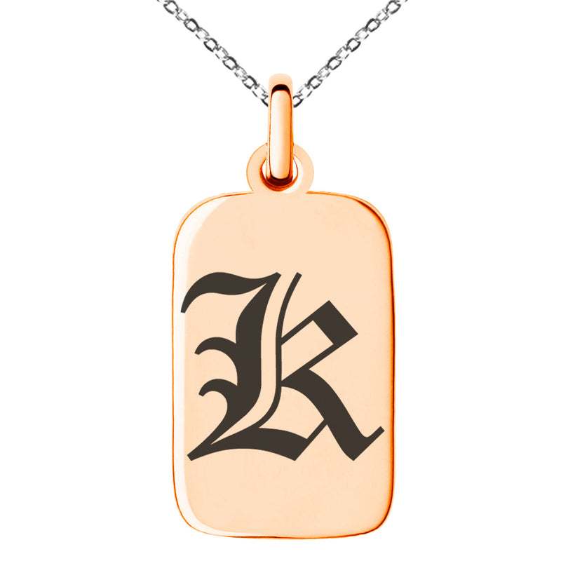 Stainless Steel Letter K Initial Old English Monogram Engraved Small Rectangle Dog Tag Charm Pendant Necklace