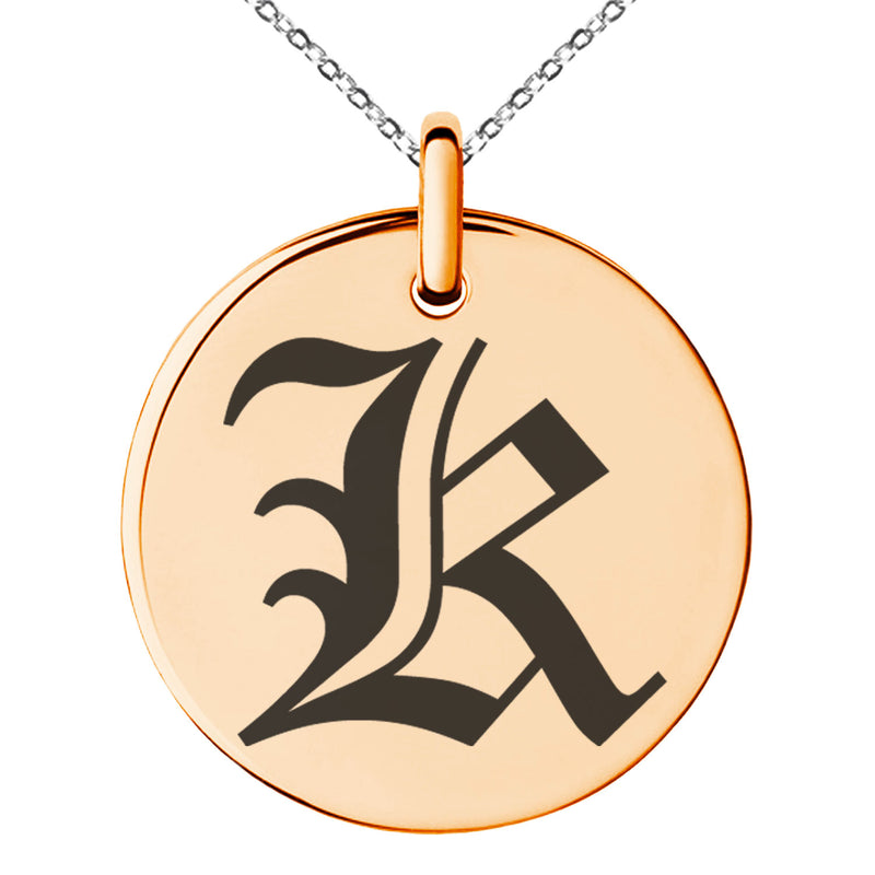 Stainless Steel Letter K Initial Old English Monogram Engraved Small Medallion Circle Charm Pendant Necklace