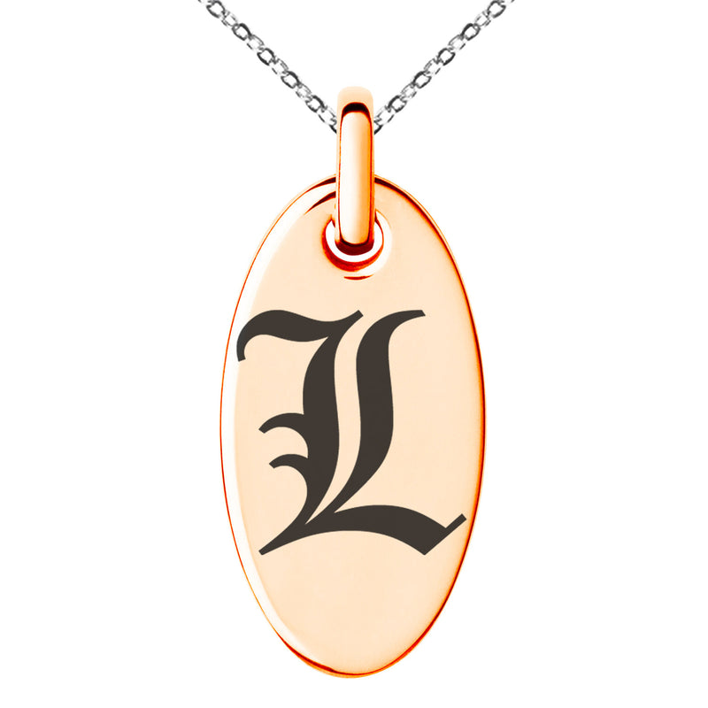 Stainless Steel Letter L Initial Old English Monogram Engraved Small Oval Charm Pendant Necklace