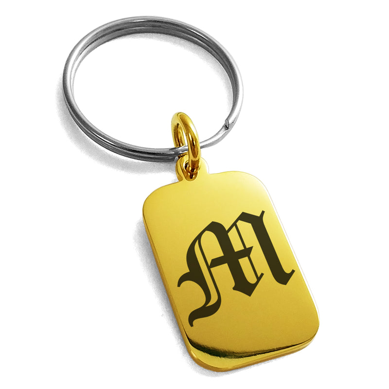 Stainless Steel Letter M Initial Old English Monogram Engraved Small Rectangle Dog Tag Charm Keychain Keyring - Tioneer