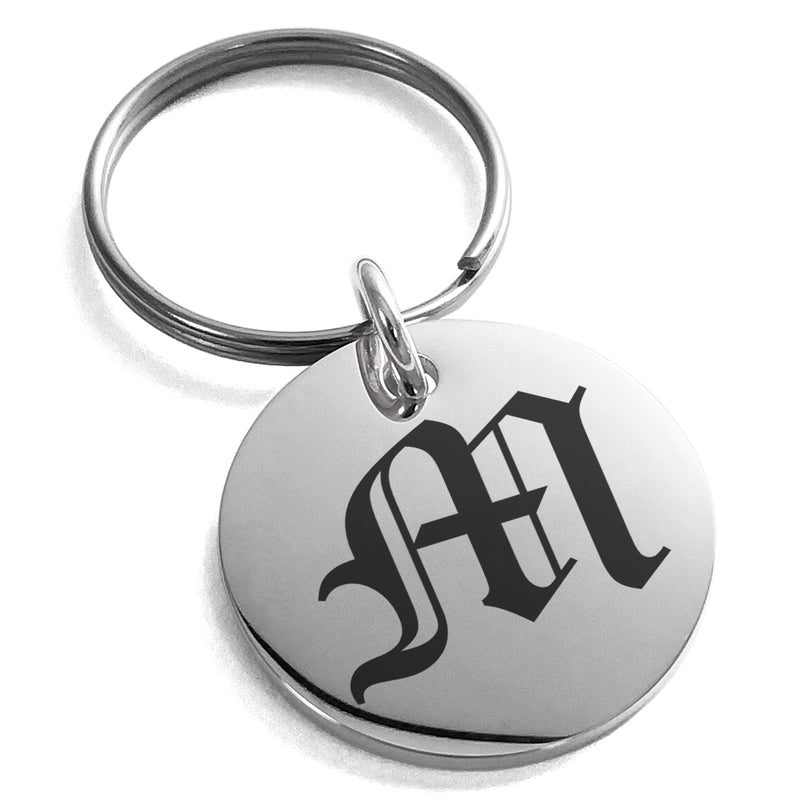 Stainless Steel Letter M Initial Old English Monogram Engraved Small Medallion Circle Charm Keychain Keyring - Tioneer