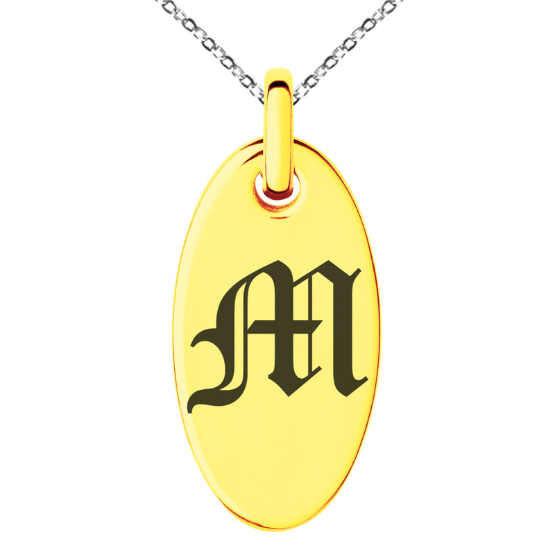 Stainless Steel Letter M Initial Old English Monogram Engraved Small Oval Charm Pendant Necklace
