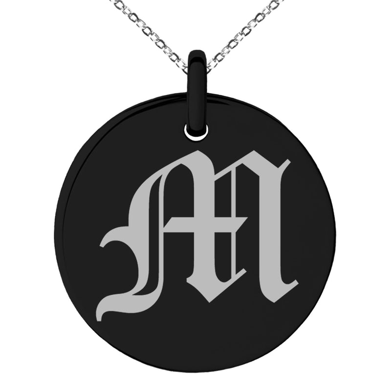 Stainless Steel Letter M Initial Old English Monogram Engraved Small Medallion Circle Charm Pendant Necklace