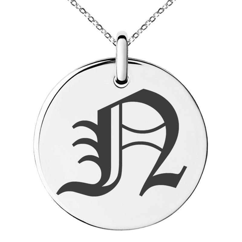 Stainless Steel Letter N Initial Old English Monogram Engraved Small Medallion Circle Charm Pendant Necklace