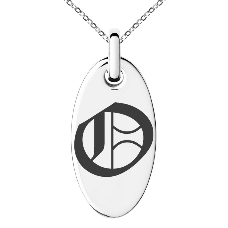 Stainless Steel Letter O Initial Old English Monogram Engraved Small Oval Charm Pendant Necklace