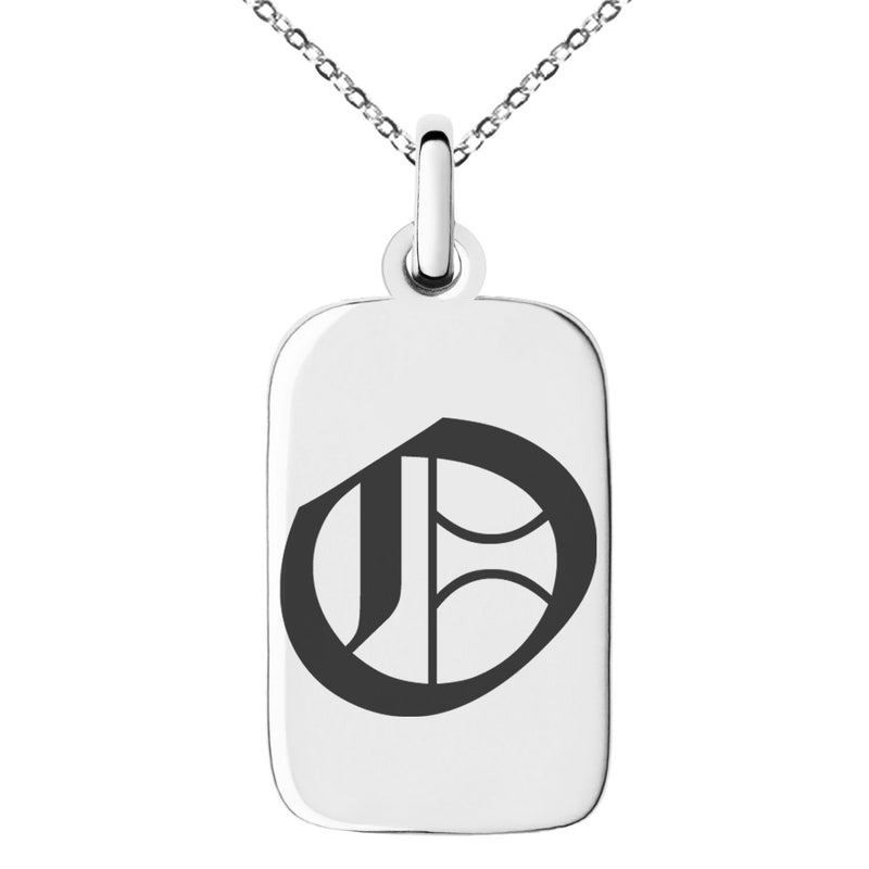 Stainless Steel Letter O Initial Old English Monogram Engraved Small Rectangle Dog Tag Charm Pendant Necklace