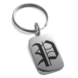 Stainless Steel Letter P Initial Old English Monogram Engraved Small Rectangle Dog Tag Charm Keychain Keyring - Tioneer