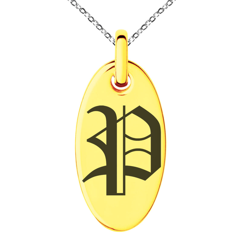 Stainless Steel Letter P Initial Old English Monogram Engraved Small Oval Charm Pendant Necklace