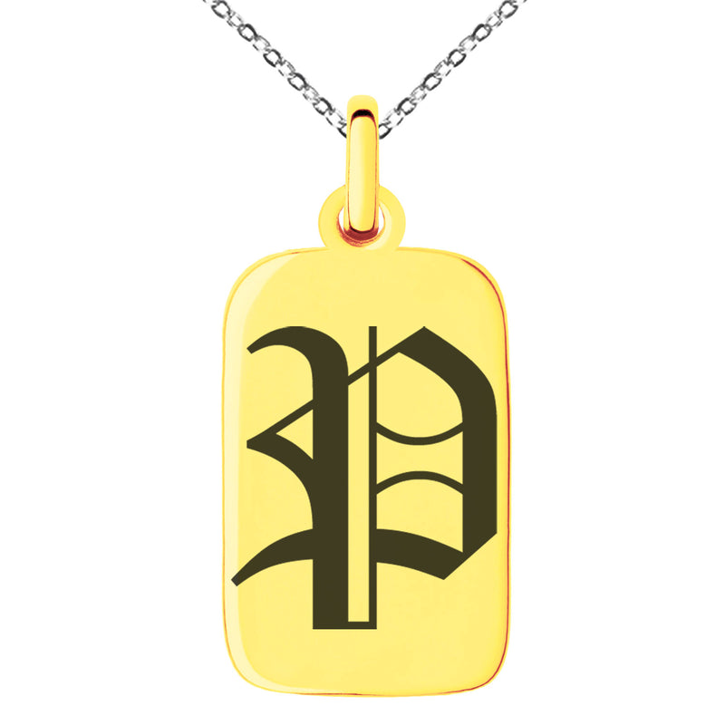 Stainless Steel Letter P Initial Old English Monogram Engraved Small Rectangle Dog Tag Charm Pendant Necklace