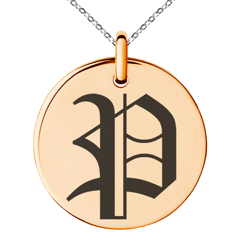 Stainless Steel Letter P Initial Old English Monogram Engraved Small Medallion Circle Charm Pendant Necklace