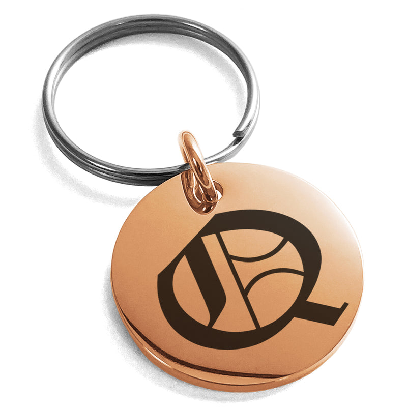 Stainless Steel Letter Q Initial Old English Monogram Engraved Small Medallion Circle Charm Keychain Keyring - Tioneer