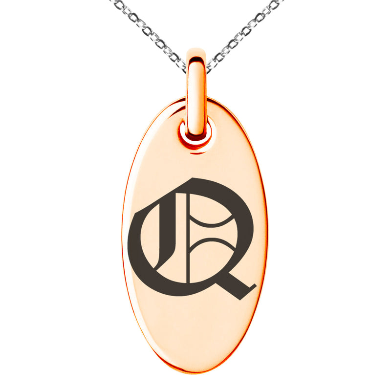 Stainless Steel Letter Q Initial Old English Monogram Engraved Small Oval Charm Pendant Necklace