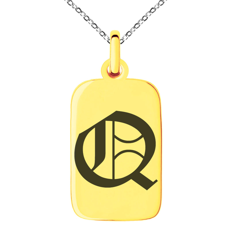 Stainless Steel Letter Q Initial Old English Monogram Engraved Small Rectangle Dog Tag Charm Pendant Necklace
