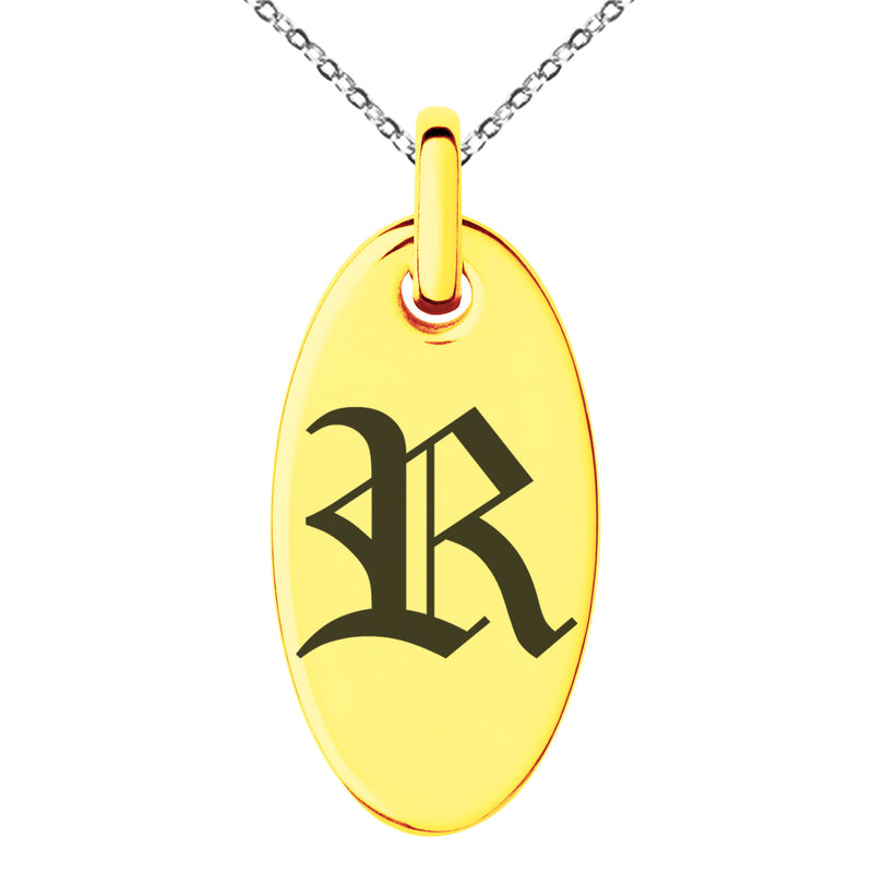 Stainless Steel Letter R Initial Old English Monogram Engraved Small Oval Charm Pendant Necklace