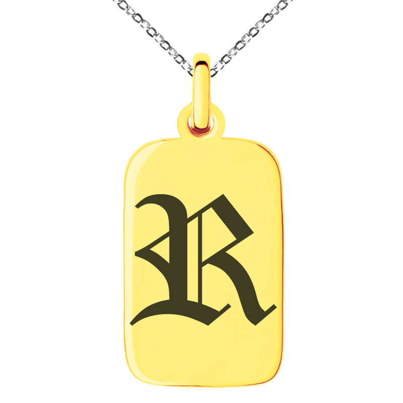 Stainless Steel Letter R Initial Old English Monogram Engraved Small Rectangle Dog Tag Charm Pendant Necklace