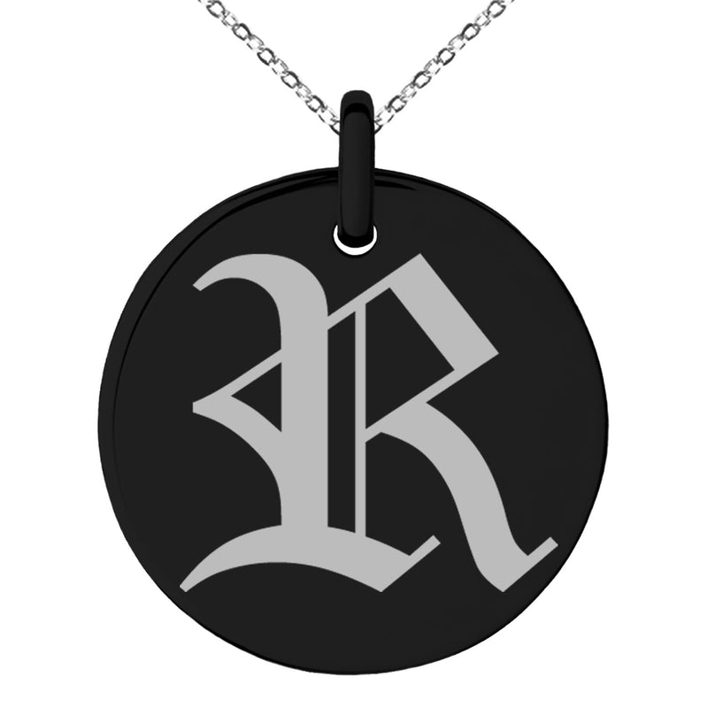 Stainless Steel Letter R Initial Old English Monogram Engraved Small Medallion Circle Charm Pendant Necklace