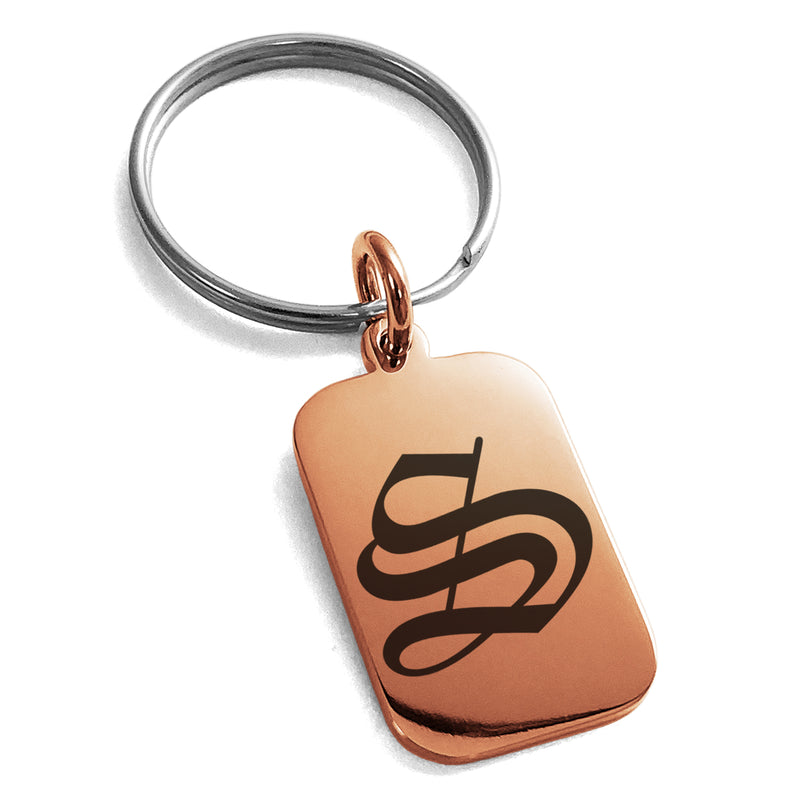 Stainless Steel Letter S Initial Old English Monogram Engraved Small Rectangle Dog Tag Charm Keychain Keyring - Tioneer