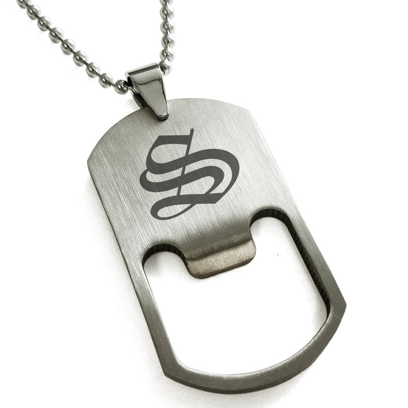 Stainless Steel Letter S Alphabet Initial Old English Monogram Engraved Bottle Opener Dog Tag Pendant Necklace - Tioneer