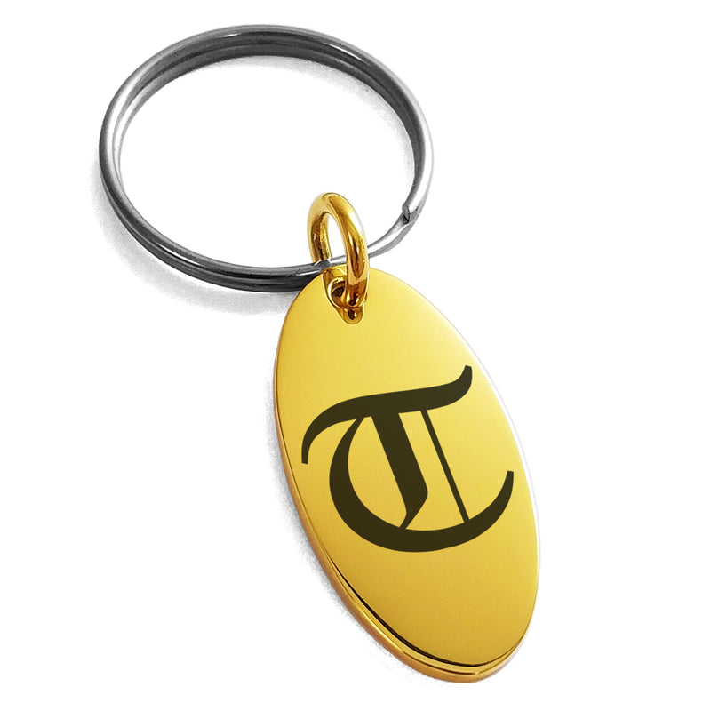 Stainless Steel Letter T Initial Old English Monogram Engraved Small Oval Charm Keychain Keyring - Tioneer