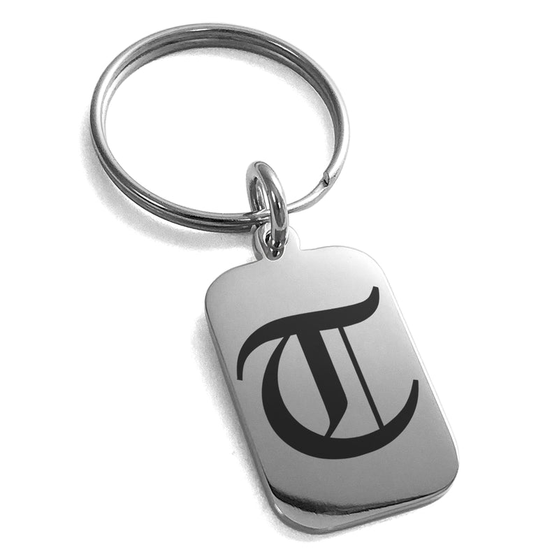 Stainless Steel Letter T Initial Old English Monogram Engraved Small Rectangle Dog Tag Charm Keychain Keyring - Tioneer