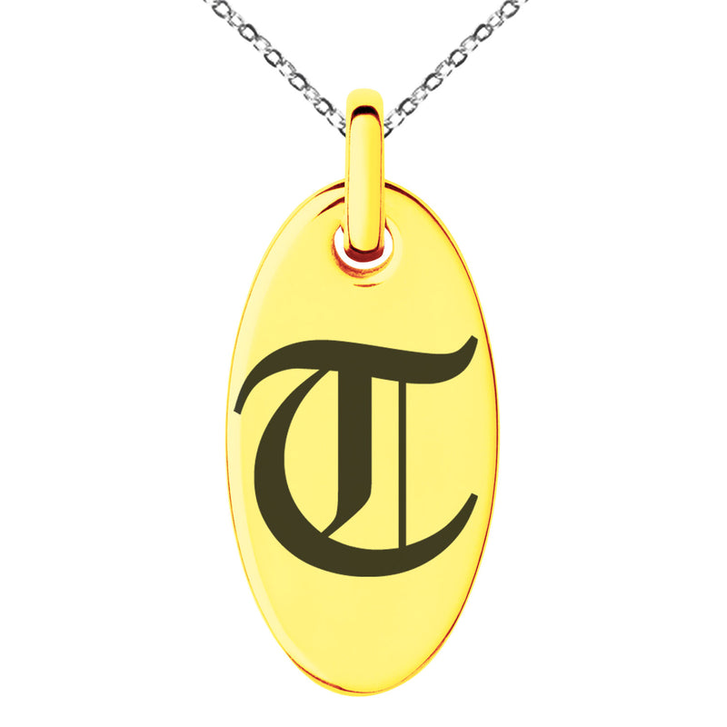 Stainless Steel Letter T Initial Old English Monogram Engraved Small Oval Charm Pendant Necklace