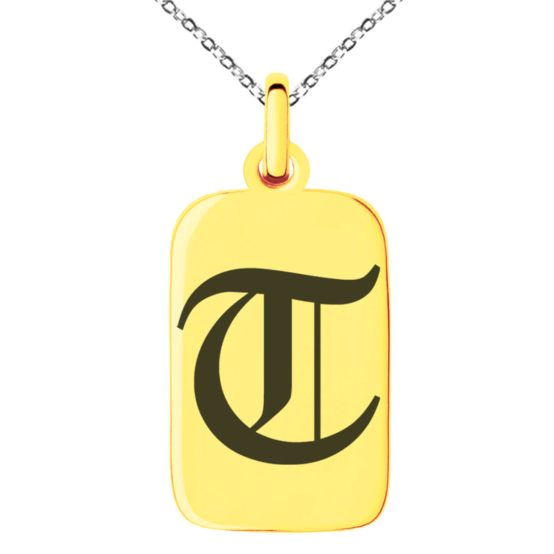 Stainless Steel Letter T Initial Old English Monogram Engraved Small Rectangle Dog Tag Charm Pendant Necklace
