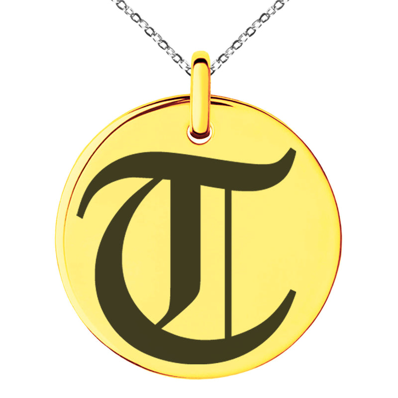 Stainless Steel Letter T Initial Old English Monogram Engraved Small Medallion Circle Charm Pendant Necklace