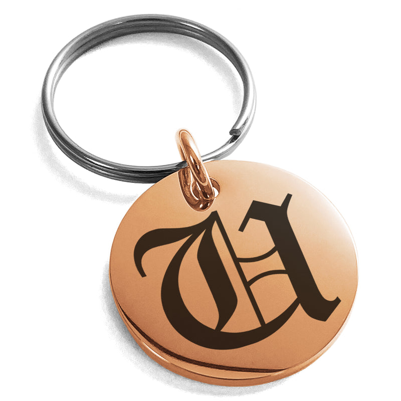 Stainless Steel Letter U Initial Old English Monogram Engraved Small Medallion Circle Charm Keychain Keyring - Tioneer